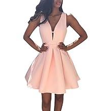 Transer ® Robe Femme, Date Ete Femme Deep V-cou Sans Manche Plage Mousseline de soie Sexy Dress Casual Lace Parti Cocktail robe de soirée courte Rose(S-XL)