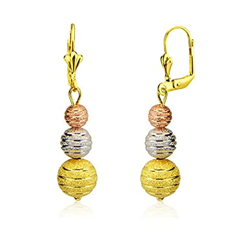 High and new technology three color gold plating beads earrings E10144