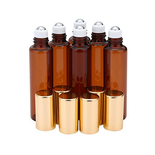 Pawaca 10 Ml (1/3 Unze) Leere Nachfüllbar Bernsteinfarbenen Glas Roll-on-Flaschen mit Edelstahl-Roller Ball für Aromatherapie ätherisches Öl, Parfüm, Kosmetik, Lotion, Perfekt für Zu Hause Oder Unterwegs (6pcs) (Parfüm-flasche Glas)