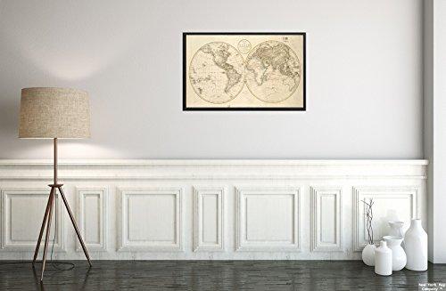 New York Map Company () 1799Karte Welt der Welt, shewing die Tracks & Entdeckungen der Motiv Captn. Cook Relief Gezeigt pictoriall|Historic Antik Vintage Reprint|Ready Zum Rahmen
