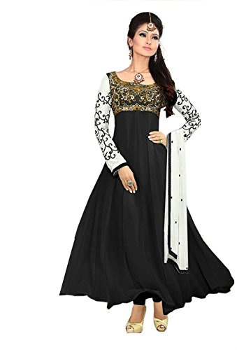 Clickedia Women's Heavy Georgette Semi-stitched Black Embroidered Floor Length Anarkali Suit - Dress Material  available at amazon for Rs.399