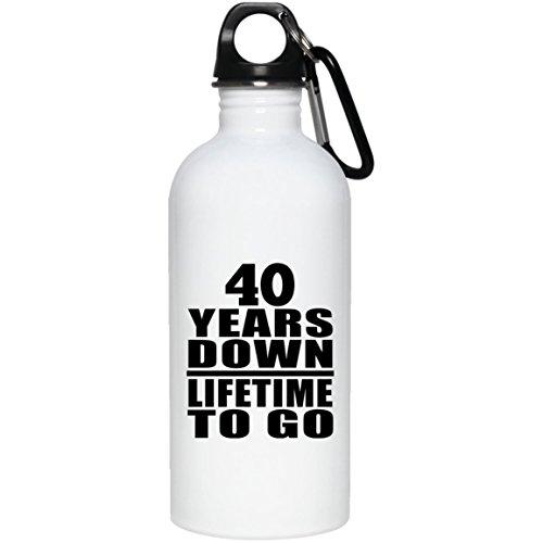 40th Anniversary 40 Years Down Lifetime to Go - Water Bottle Wasserflasche Edelstahl Isoliert Thermosflasche - Geschenk zum Geburtstag Jahrestag Muttertag Vatertag Ostern