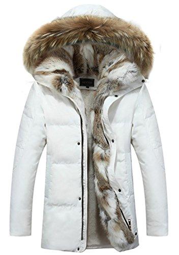 SZYYSD Herren Daunenmantel 90% Daunen Daunenjacke Kunst Fellkapuze lang Parka Luxurious Fur Jacket Rex Fur Collar (EU/DE XXX-Large, Weiß) -