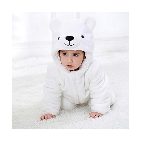 Recién Nacido Franela Mameluco Bebé Unisexo Invierno Jumpsuit Animal Caricatura Trajes 0-24 Meses 3