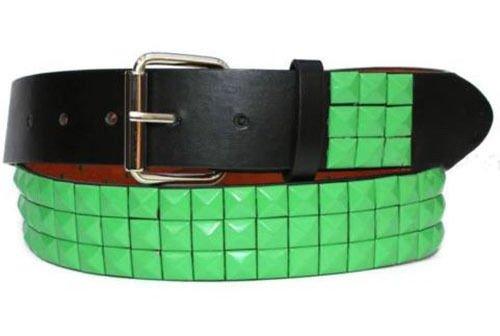 Fashion bazar Herren Gürtel Gr. Medium, Black Belt with Green Studs