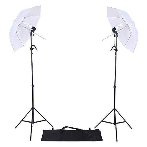 Galleria fotografica Andoer Foto Studio di illuminazione Kit Bianco Traslucido Umbrella Tripod 45W E27 Luce Zoccolo con il Sacchetto di Oxford