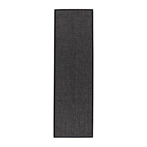 Alfombra pasillera de polipropileno negro clásica para decoración de 60 x 200 cm Factory - Lola Home