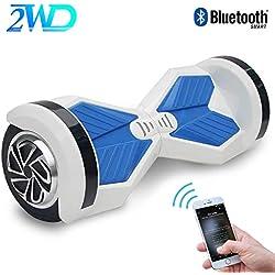 """2WD Hoverboard Scooter Eléctrico 2 Rueda Self Balancing Scooter con Bluetooth Scooter Eléctrico 8""""- 2 * 350W (Blanco Azul)"""