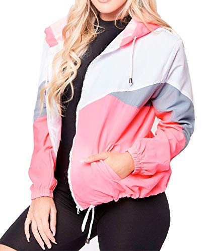 Islander Fashions Damen Langarm Color Block Jacket Damen Windjacke mit Kapuze Mantel Top Neon Pink Large Neon Windbreaker