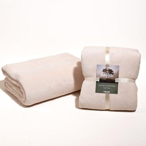 Sancarlos - Manta lisa microfibra beige - microfibra 300 g. - Cama 135, 220x240 cm - crema