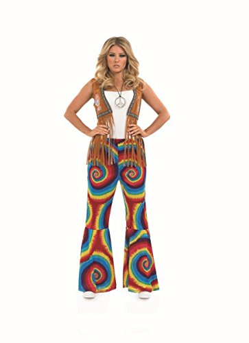 TIE DYE FLARES Adult Fancy Dress Costume All Sizes