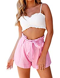 dfa908ff199243 moonuy Été Confortable Femmes Stripe Pocket Loose Pantalon Lady Casual Taille  Haute Summer Beach Shorts Pantalons