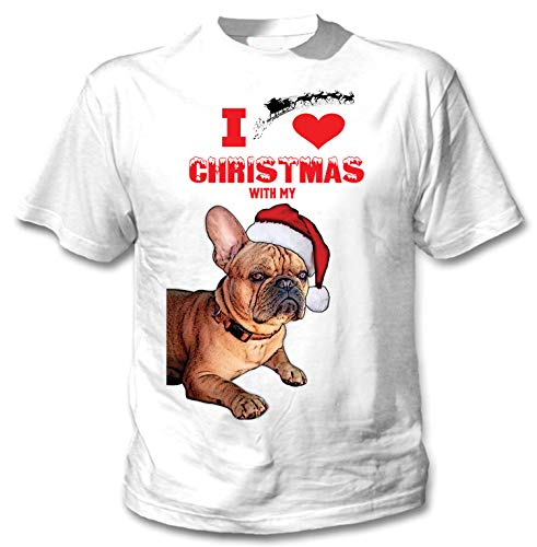 teesquare1st I Love Christmas with My French Bulldog Ginger Santa Camiseta...