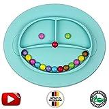 Babylovit BPA-freier und Rutschfester Kinder Teller - geprüfter Esslernteller mit Saugnapf - Essmatte - Ideal für Baby Led Weaning
