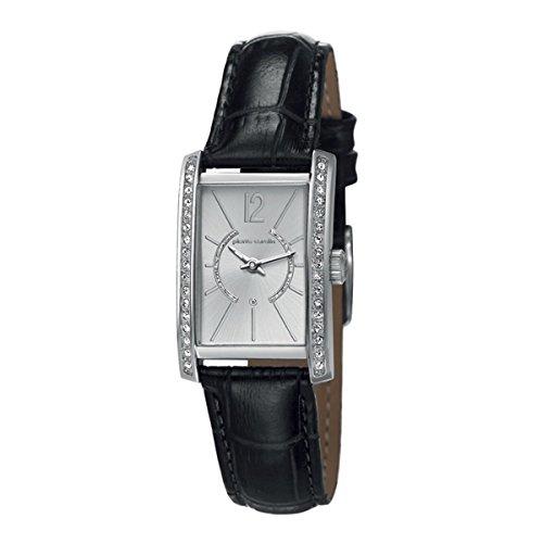 Montre mixte adulte Pierre Cardin Quartz- Affichage Date Standard bracelet Cuir Noir et Cadran Argent PC106562F01
