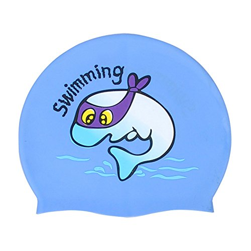 Moolecole Blau Cartoon Fisch Kinder Silicone Wasserdicht Badekappe Kids Swimming Cap
