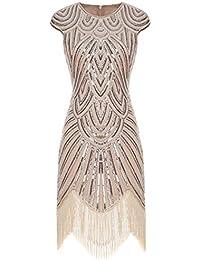 FAIRY COUPLE Robe de 1920s Pailleté Embelli Frange Flapper Robe D20S002