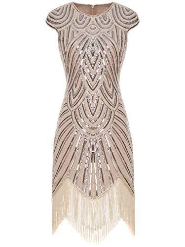 7ab8646c146a FAIRY COUPLE Vestito Gatsby Donne 1920s Vestito Abito Anni 20 Donna Vestito  da Sera Paillette Impreziosito