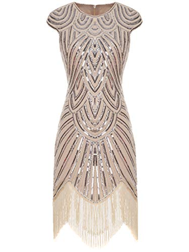 FAIRY COUPLE 1920 Pailletten verschönert Quasten Falten Flapper Kleid D20S002(S,Champagner)