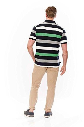 Kitaro Herren Shirt Poloshirt Karibik Piqué Striped Grün