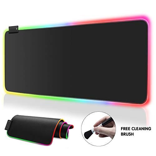 RGB-Softes Gaming-Mauspad, groß, übergroß, leuchtende LED, erweitertes Mauspad, rutschfeste Gummiunterseite, 14 Beleuchtungsmodi für Gamer (gratis wiederverwendbare Bürste) schwarz -
