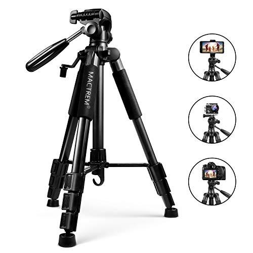 Mactrem Treppiede Reflex Leggero Estensibile Lega di Alluminio 140cm Testa 3 Vie capacità 5kg 4 Sezioni con Custodia per Canon Nikon Sony GoPro Videocamera DSLR (Nero)