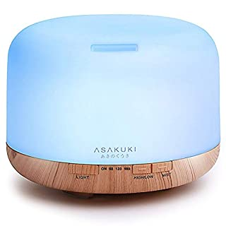 ASAKUKI 500ml Premium, Essential Oil Diffuser, 5 in 1 Ultrasonic Aromatherapy Fragrant Oil Vaporizer Humidifier, Purifies The Air, Timer and Auto-Off Safety Switch, 7 LED Light Colors