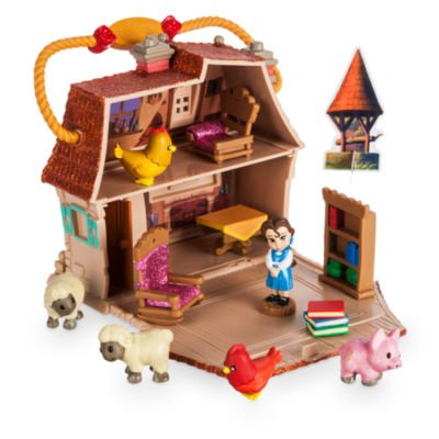 Belle Micro Playset, Disney Animators 'Collection Littles einschließlich Prinzessin zwei Sessel, ein Tisch, Bücher und ein Bücherregal, fünf Tiere und eine Mystery Figur (5-tier-bücherregal)