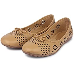 Do Bhai Belly-Usha Casual Ballerinas for Women (Euro40, Tan)