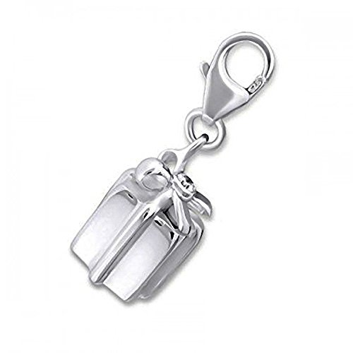 GIFT BOX / PRESENT BOX CZ Set Sterling Silver Clip-On Charm - For Thomas Sabo Style Charm Bracelets. JB3069
