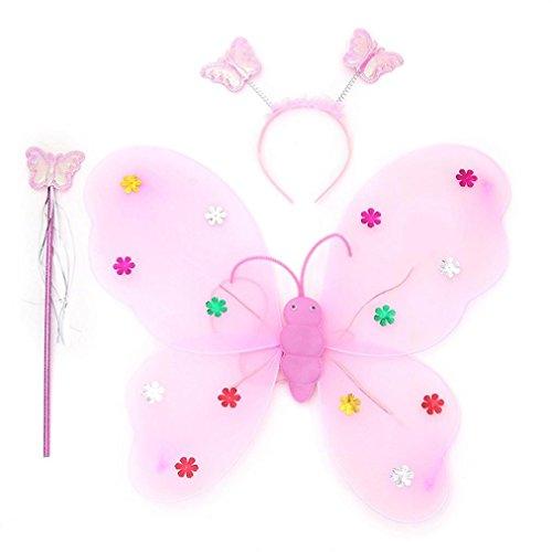 Bescita 3pcs/Set Mädchen Led Blinklicht Fairy Schmetterling Flügel Stirn Stirnband Kostüm Spielzeug (Baby Kostüm Led)