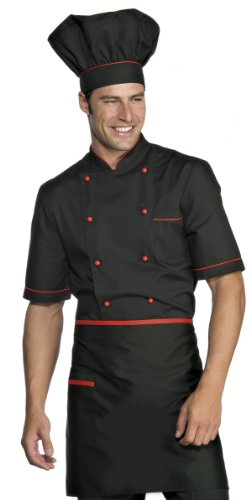 Isacco Alicante Nero+Rot, M, 65% Polyester, 35% Baumwolle, halbe Ärmel