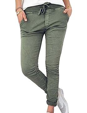 Guiran Mujer Casual Pantalones Chinos Elasticos Cintura Elastica Boyfriend Jogger Pants Verde del ejército 2XL