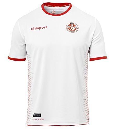 Uhlsport uomo tunisia shirt team maglia, uomo, tunisia shirt, bianco/rosso, 152