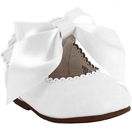 Tia London Mädchen Brautjungfern Bogenband Party Schuhe Patent Schuhe Infant Größen EUR 17-28 (Elfenbein Kleinkind Schuhe Kleid)