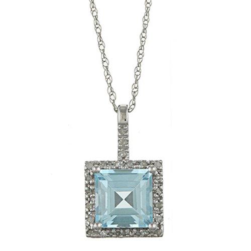 10 K oro bianco 2, 6cttw piazza topazio blu con diamanti ciondolo collana
