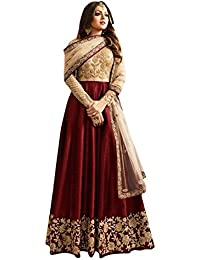 Ethnic Empire Banglory Silk ANd Net Womens Semi Stitched Long Anarkali Suit(Ethnic_ER108_Free Size)