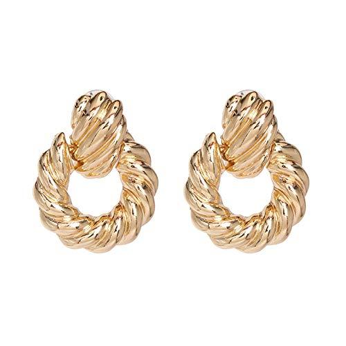 Z&HA Ohrringe für Frauen Dangling, verdrehte Linien gewellte Ohrringe verbunden mit Holzperlen Tropfen 4.2 cm, Kupfer-geplatzter Gold-Ton,01