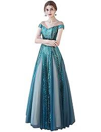 b58c5df367 Boda Vestido de Dama de Honor Palabra Palabra Hombro Largo párrafo Vestido  de Noche de Lentejuelas