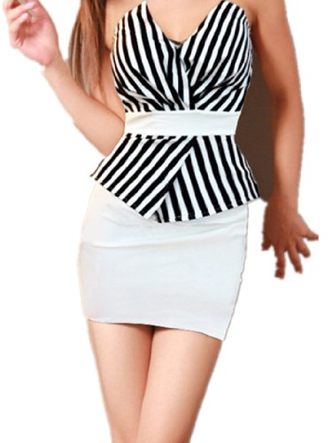 Formelle de cocktail de QIYUN.Z femmes raye Peplum Blouson sexy sans bretelles de robe de Clubwear bleu royal