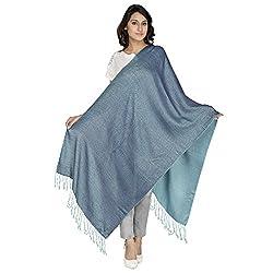 Anekaant Viscose Reversible Womens Shawl (Blue)