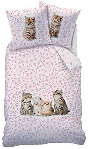 CTI ropa de cama reversible gatos ropa de cama 135 x 200cm 100% Algodón