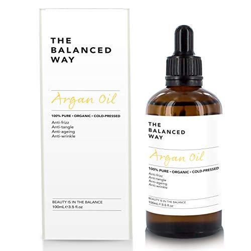 Olio di Argan Puro al 100% Organico per Capelli, Pelle, Corpo e Unghie 100ml - Spremuto a Freddo in Marocco, Ricco di Antiossidanti u Vitamina E - Balsamo profondo e Anti-Età Idratante
