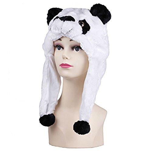 Viskey femmes fille Slouchy ouvertures Fluffy Bonnet en tricot crochet chapeau Bonnet d'hiver chaud/Animal en peluche courte Bonnet avec cache-oreilles Blanc Panda -