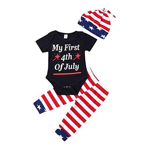 Mitlfuny Kleidung Set Kleid Damen Sommer Elegant Baby Mädchen Outfits & Set,Neugeborenes Baby Boy Star Stripe 4. Juli Tops Strampler Hosen Hut 3Pcs Outfits