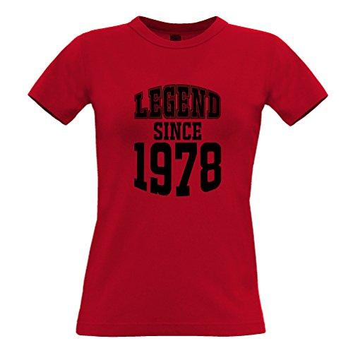 Tim and Ted 40Th Birthday T-Shirt da Donna La Leggenda dal 1978 Regalo Made in 40 Anni Red