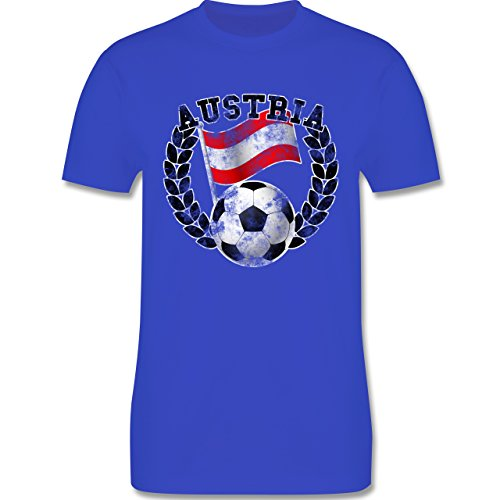 EM 2016 - Frankreich - Austria Flagge & Fußball Vintage - Herren Premium T-Shirt Royalblau