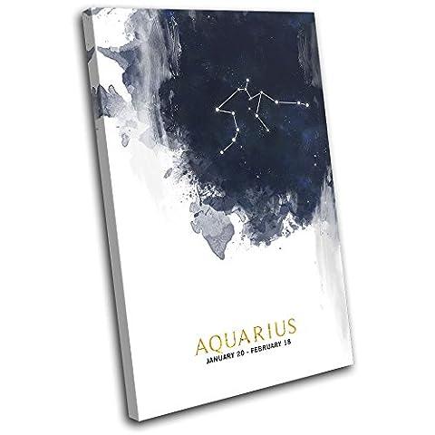 Bold Bloc Design - Aquarius Zodiac Constellation Starsign 135x90cm SINGLE Boite de tirage d'Art toile encadree photo Wall Hanging - a la main dans le UK - encadre et pret a accrocher - Canvas Art Print