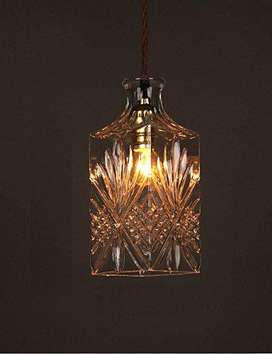 swent moderna Fácil/Retro/LED de techo Leuchten E27220V 25* 9,5cm 10–15M². Roman mesa Botella creativo de cristal tallados–Lámpara LED, color blanco