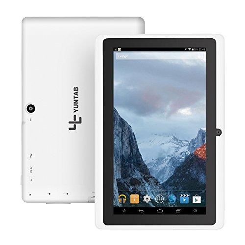 YUNTAB 7 Zoll HD-Quad-Core-Google Android 4.4 KitKat Tablet PC, Allwinner A33, 8GB NAND-Blitz Doppel-Kamera 1024x600 Multi-Touch-Bildschirm, Google Play vorinstalliert (Weiß) - 2200 Quad